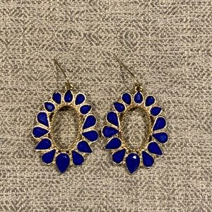 Blue and Gold Round Earrings